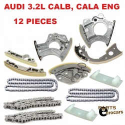 Timing Chain Kit Timing Guide Rails Tensioners For Audi V6 CALB,CALA Eng 12pcs