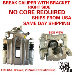 Right Side Disc Brake Caliper With Bracket Complete Fits Audi TT VW Jetta