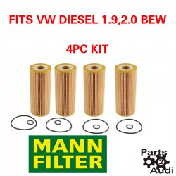 MANN Engine Oil Filter 4pc Kit Fits VW Diesel BEW