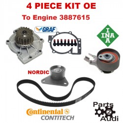 OE Timing Belt Water Pump Kit 4pc For Volvo C30 S40 S60 V50 XC70