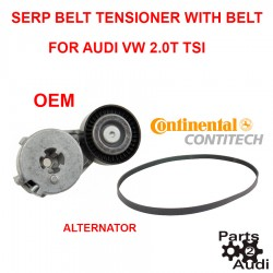 Engine Drive Belt Tensioner Assembly  Alternator w Drive Belt For Audi VW TSI Engine