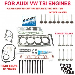 ENGINE Cylinder Head Gasket Set BOLTS Intake Exhaust Valves Audi VW CBFA CAEB