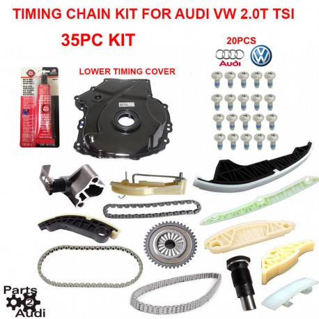 Lower Timing Cover w VW Genuine Bolts For Audi VW 2.0T TSI CAEB and CETA ENG