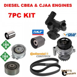 Timing Belt Kit Water Pump Tensioner Rollers Thermostat For DIESEL VW CBEA CJAA