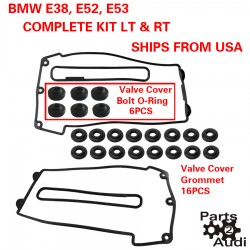 Engine Valve Cover Gaskets w Grommets Set Left and Right For BMW E38 E52 E53
