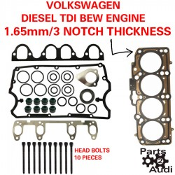 3 NOTCH Cylinder Head Gasket Set OE With Bolts VW Diesel BEW and BXR Engine