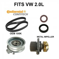 OEM Engine Timing Belt Tensioner Water Pump Kit w Cam Gear and Seals VW 2.0L non T