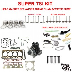 Super TSI Timing Chain Kit Cylinder Head Gasket Intake Exhaust Valves and Pistons Water Pump