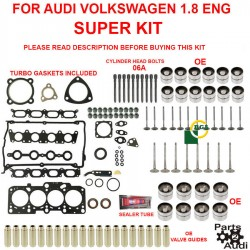 SUPER Cylinder Head Gasket Set w Bolts,Intake,Exhaust Valves & More Audi VW 1.8L
